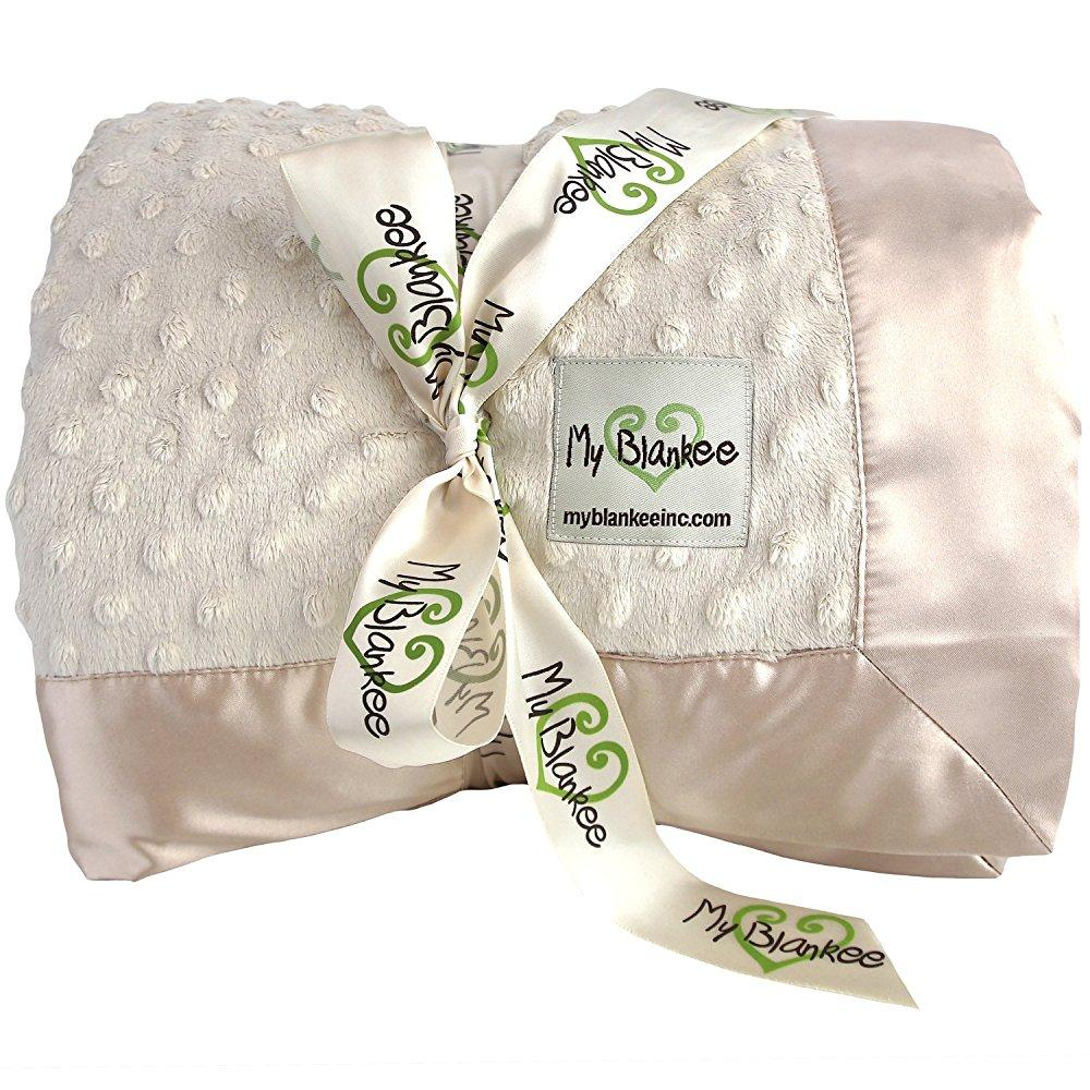 My Blankee minky dot super king blanket with flat satin b...