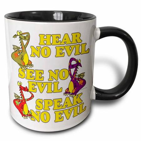 3dRose Hear See Speak No Evil Dragons Cartoon - Two Tone Black Mug, 11-ounce (See Hear Speak Dragons)