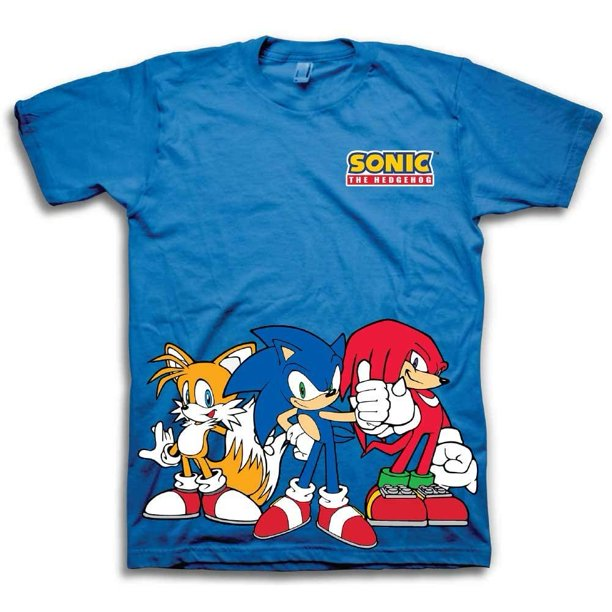 Sega Boys Sonic The Hedgehog Shirt Featuring Sonic Tails And Knuckles The Hedgehog Trio Official T Shirt Walmart Com Walmart Com