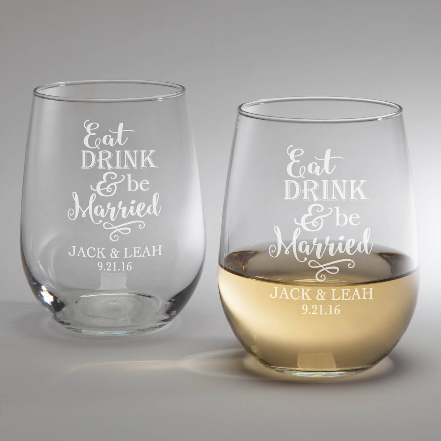 Eat, Drink & Be Married Personalized Stemless Wine Glass Set