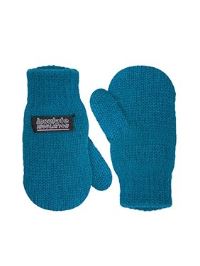 SANREMO Unisex Kids Toddler Knitted Fleece Lined Warm Winter Mittens (3-6 Years, Coral Blue)