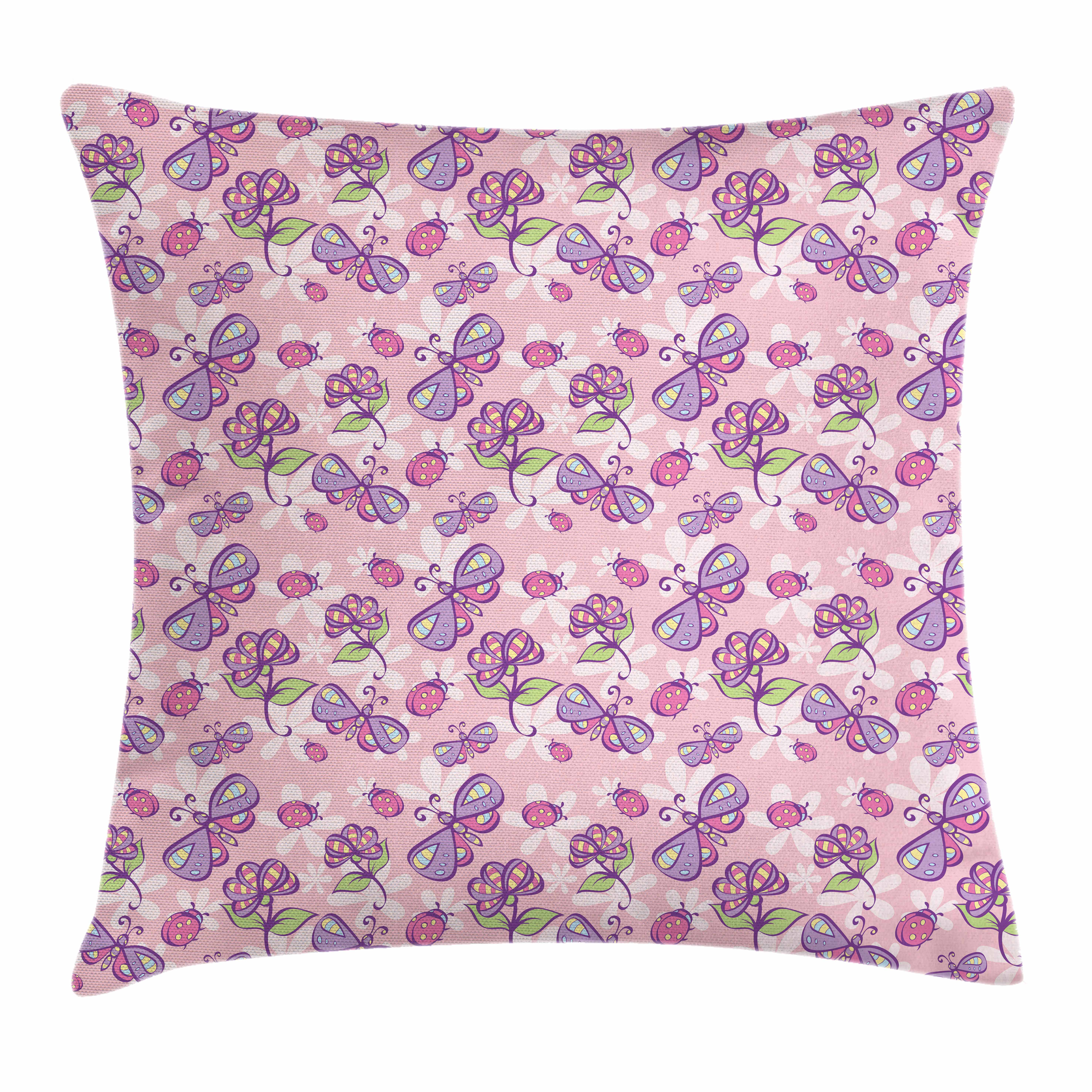 Floral Throw Pillow Cushion Cover, Butterflies Flowers Cartoon Stylized Kids Girls Baby Playroom Nursery Theme, Decorative Square Accent Pillow Case, 16 X 16 Inches, Pale Pink Lavander, by Ambesonne