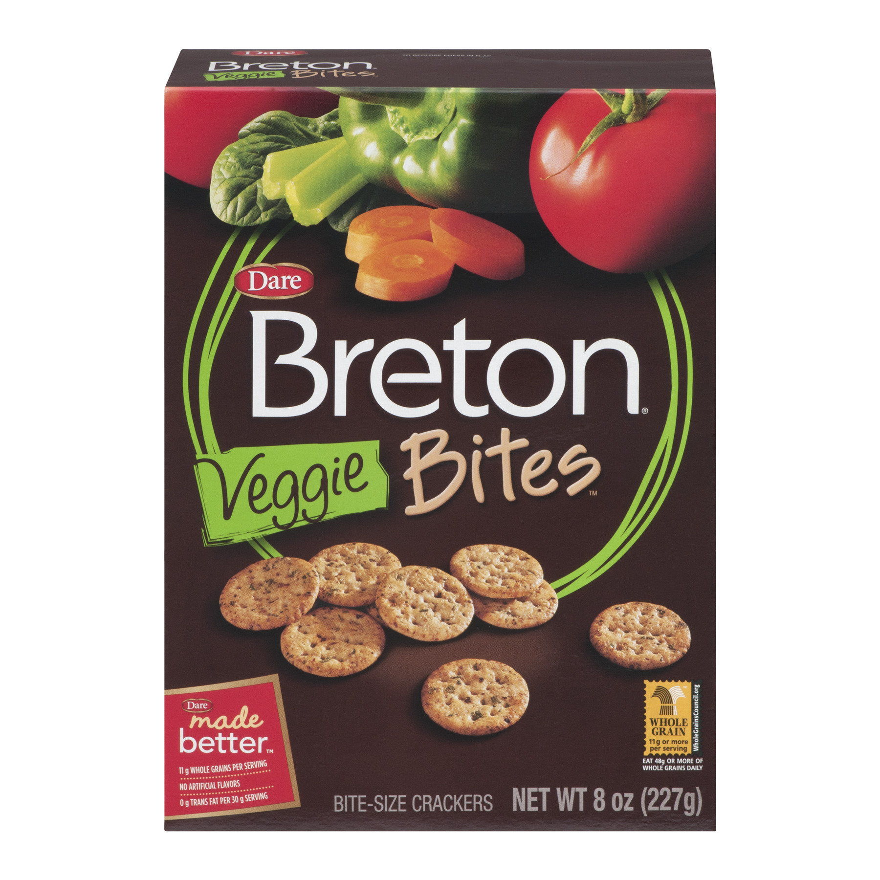 Dare Breton Veggie Bites Bite-Sized Crackers, 8.0 OZ
