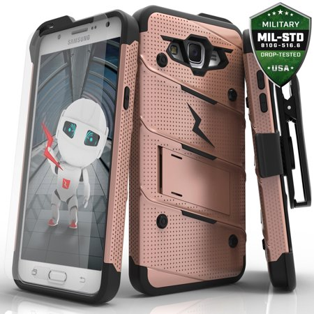 Samsung Galaxy J7 Case, Zizo [Bolt Series] w/ FREE [Galaxy J7 Screen Protector] Kickstand [Military Grade Drop Tested] Holster Clip - Galaxy J7 2015 ...