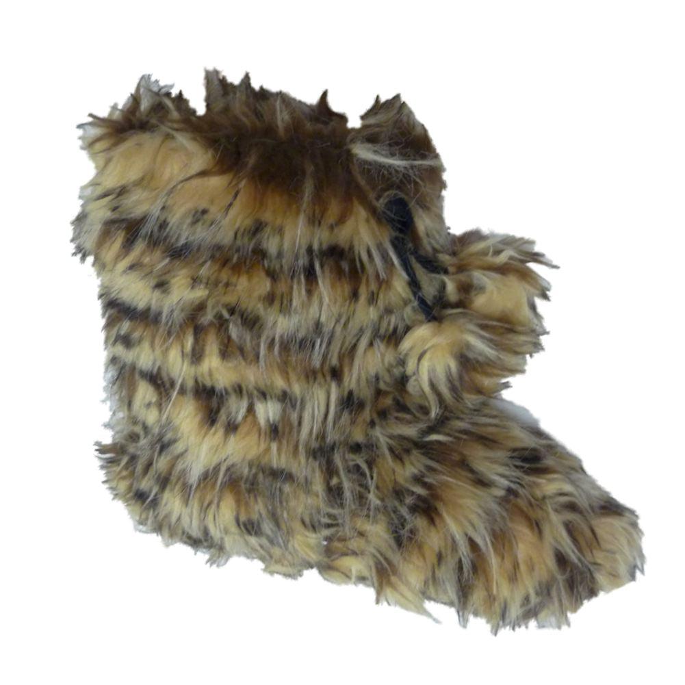 Bongo Womens Brown Fur Bootie Slippers Leopard Print Boots