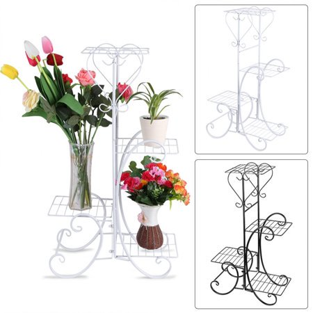 4 Tier Decorative Metal Flower Pot Plant Stand Display Shelf Indoor Outdoor Garden Patio White