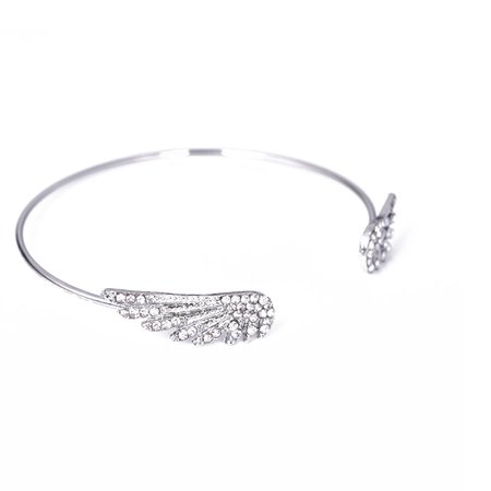 Women Rhinestone Double Wings Open Bangle Adjustable Cubic Zirconia Bracelet - image 5 of 5