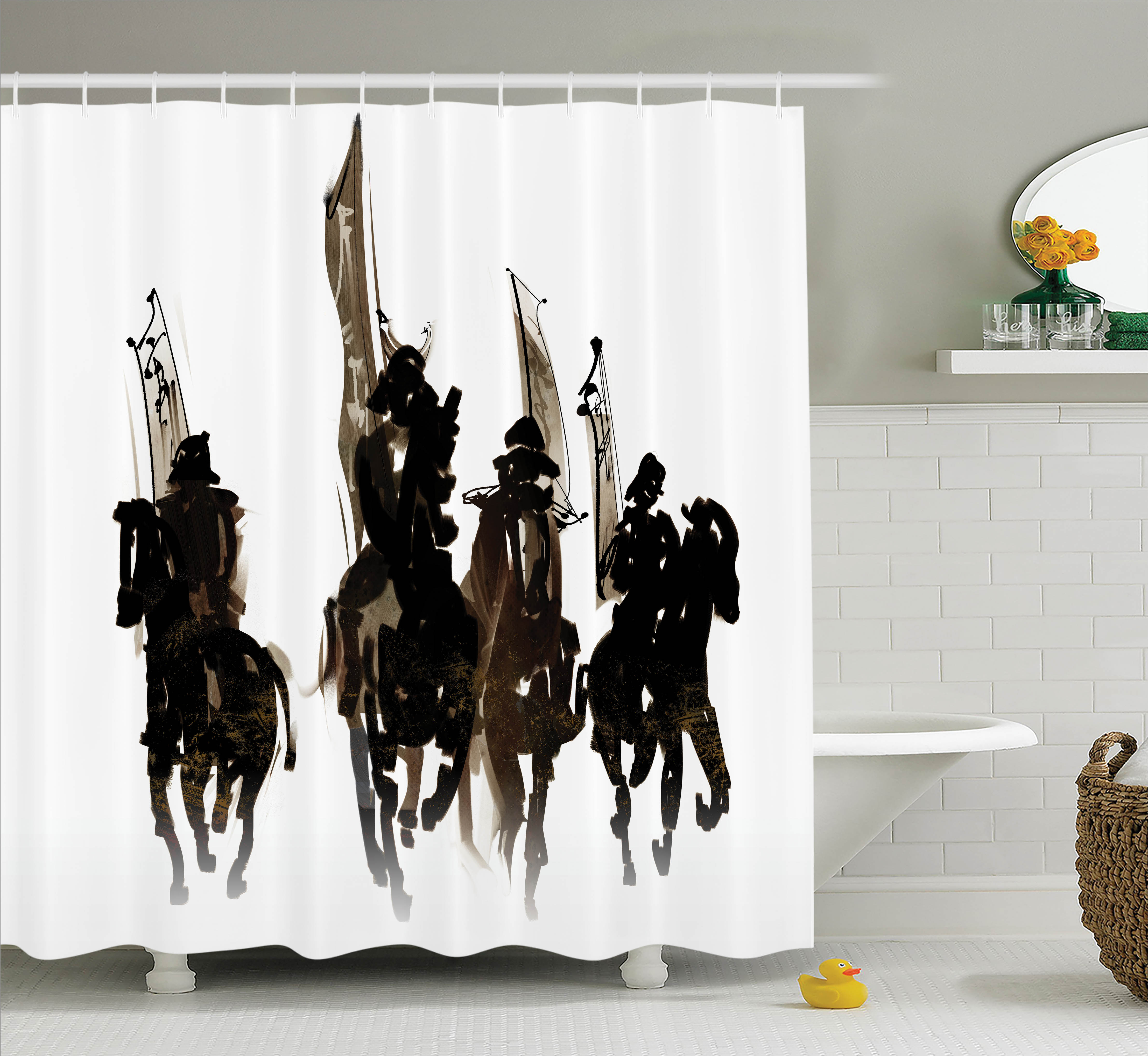 Black Shower Curtain Set, Silhouette of Cavalier Army on ...