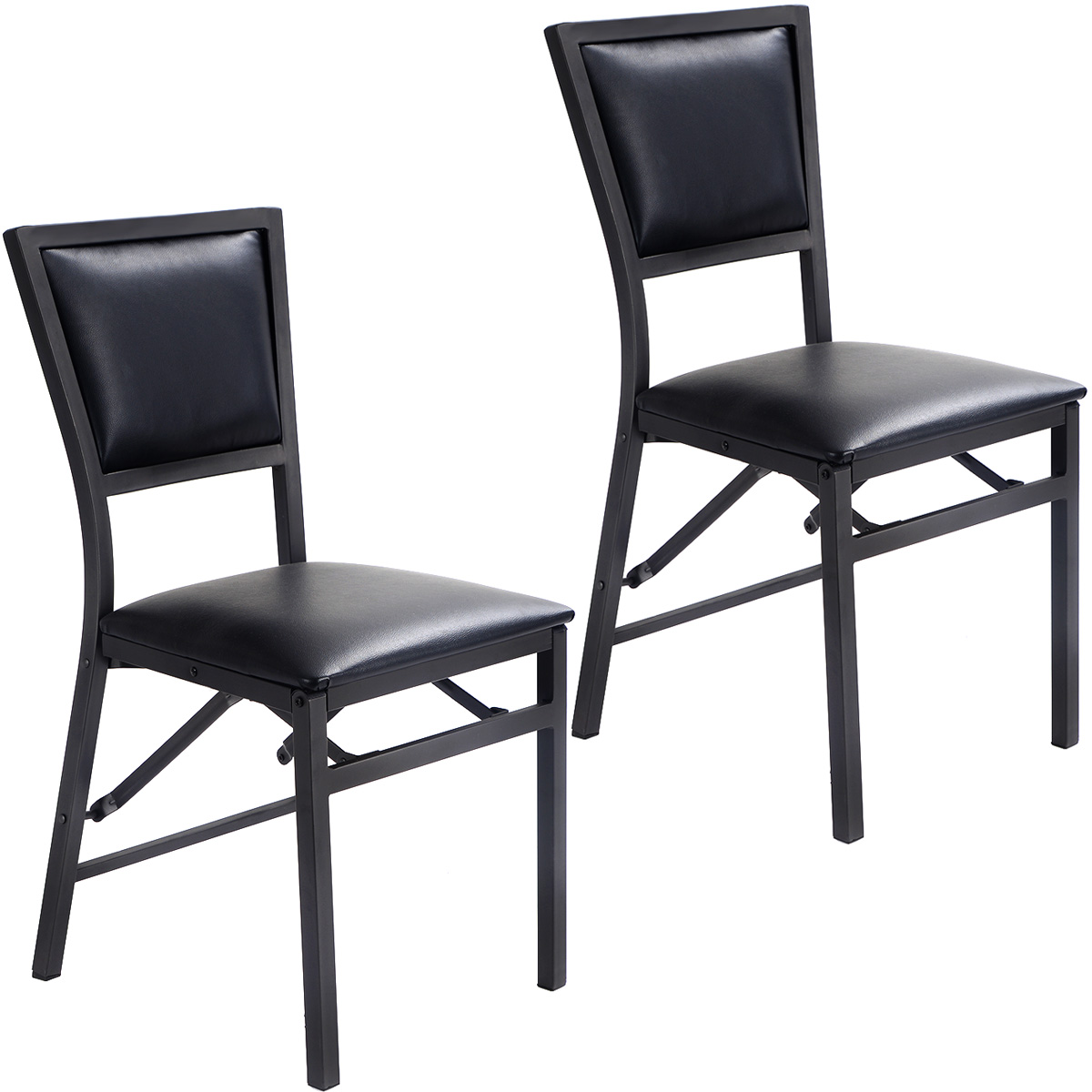 White Metal Folding Chairs costway set of 2 metal folding chair dining chairs home restaurant
