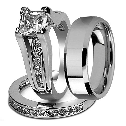 His And Hers Stainless Steel Princess Wedding Ring Set U0026 Beveled Edge  Wedding Band Womenu0027s Size