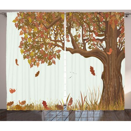 Red Barrel Studio Stanwich Tree of Life Autumn Season Fall Shady Deciduous Oak Leaves in Park Countryside Artwork Graphic Print & Text Semi-Sheer Rod Pocket Curtain Panels (Set of 2) Shady Tree Studio