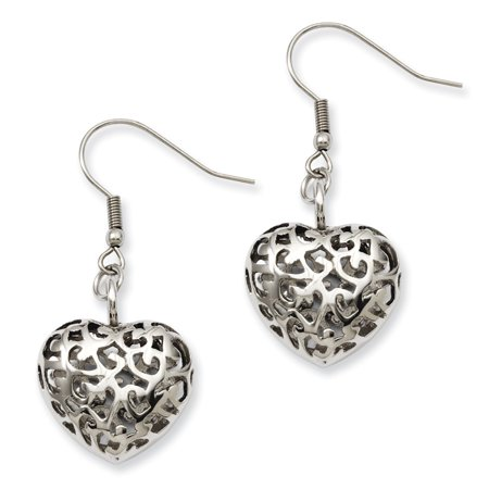 Wide Puffed Heart - Stainless Steel Puffed Heart Dangle Earrings (1.8IN Long x 0.8IN Wide)