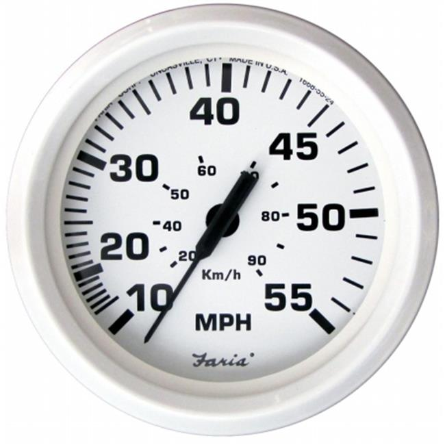 Faria Beede Instruments 33112 4 in. Dress White Speedometer - 55MPH Mechanical