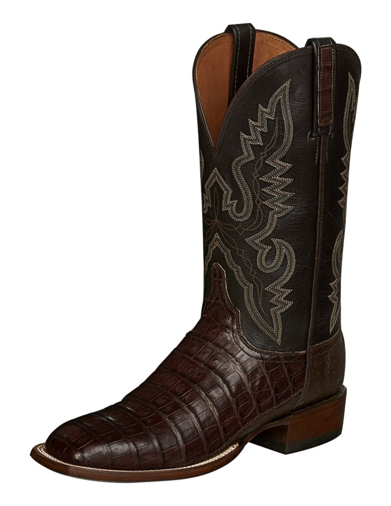 9f9749eb1cc Lucchese Western Boots Mens Trent Caiman Belly Barrel Brown CL1006