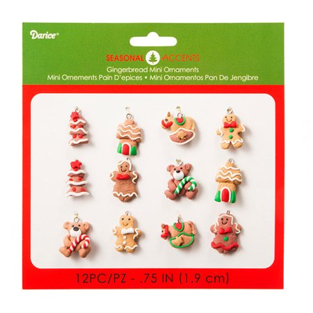 Mini Gingerbread Ornament Figures: Assorted Sizes, 12 Pieces