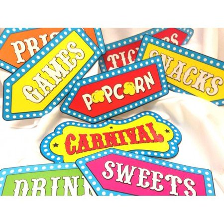 8 Circus Cutouts Carnival Banner Decorations Wall or Door Birthday Party Supplies - Circus Door Decorations