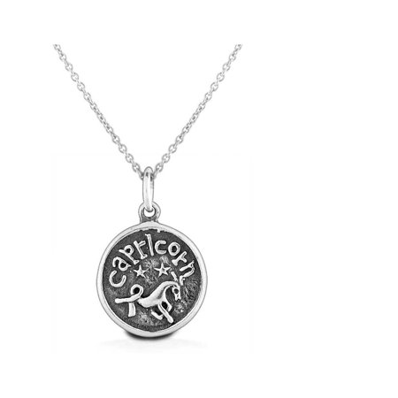 Bling Jewelry 925 Sterling Silver Zodiac Capricorn Round Pendant (Capricorn Zodiac Charm Pendant)