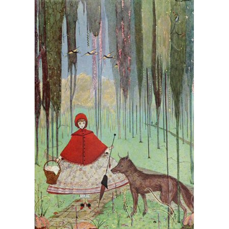 The Fairy Tales Of Charles Perrault 1922 Little Red Riding Hood Canvas Art Harry Clarke 24 X 36