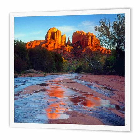 3dRose USA, Arizona, Sedona. Cathedral Rock reflects in Oak Creek at Sunset., Iron On Heat Transfer, 10 by 10-inch, For White (Best Color To Reflect Heat)