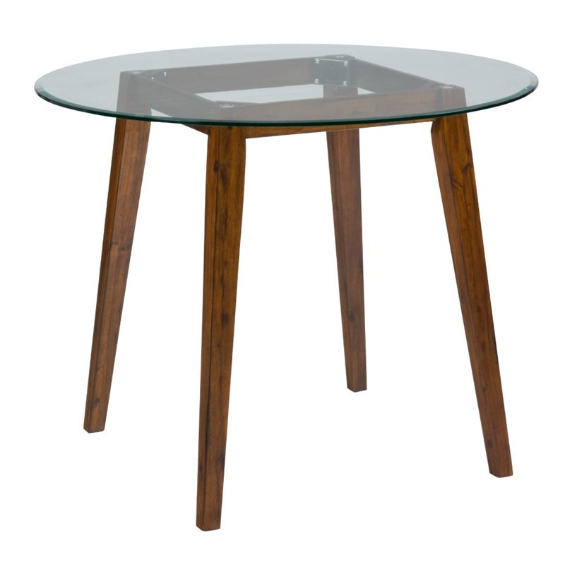 Jofran Plantation Round Glass Top Counter Height Dining Table in Brown