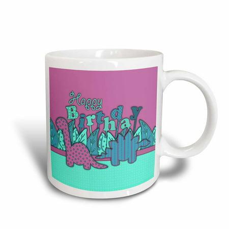 3dRose Cute Happy Birthday Dinosaurs - Purple Blue Dino, Ceramic Mug, 15-ounce (Royal Blue Ceramic)