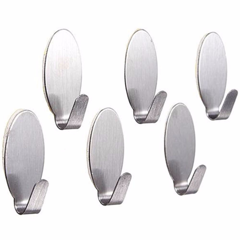 6x Useful Stick On Hook Strong Self Adhesive Sticky Coat Hat Metal Hanger Silver
