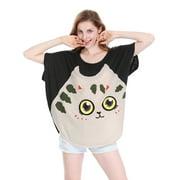 Women's Cat Dolman Sleeve Loose Summer Tops Black (Size XL / 16)
