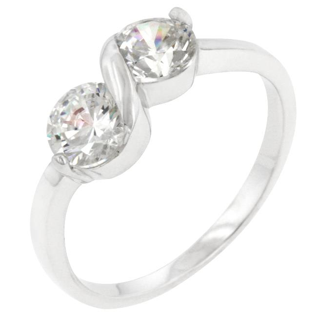 Kate Bissett R08120RS-C01-10 Genuine Rhodium Plated to .  925 Sterling Silver Ring with Round Cut Clear CZ in a Prong