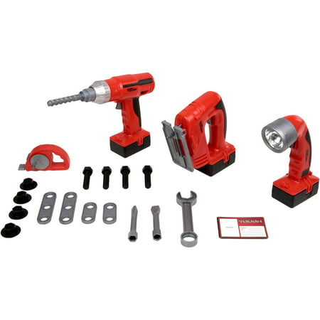 Kid Connection 20-Piece Light & Sound Power Tool Play Set, Red