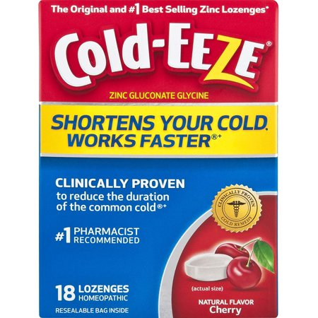 Cold-Eeze Zinc Gluconate Glycine Cherry Lozenges Homeopathic, 18 count