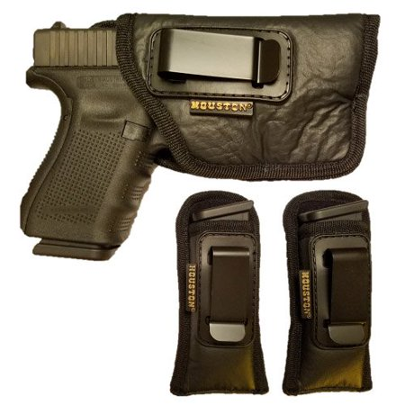 IWB Combo ECO Leather Concealment Gun Holster Inside The Waistband + 2 Magazine Pouch FITS Most MIDSIZES & Compact 9 mm / .40 Cal / .45 Cal with Laser OR FLASHLIGHTS (Right)