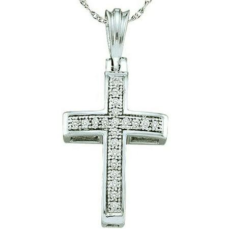 0.10 Carat (ctw) 18K White Gold Round White Diamond Ladies Micro Pave Religious Cross Pendant 1/10 CT