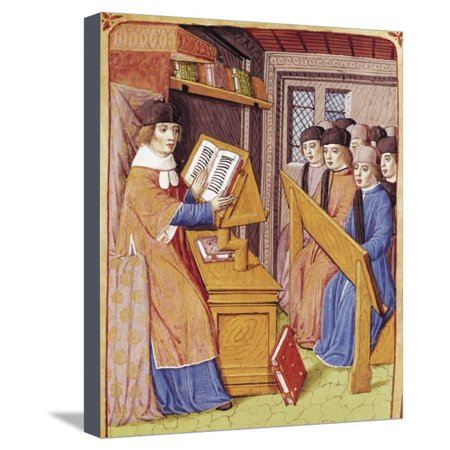 Teaching, Miniature from Georgics, by Virgil, Ms 493, F 56, R. Vellum, 1469, France, 15th Century Stretched Canvas Print Wall