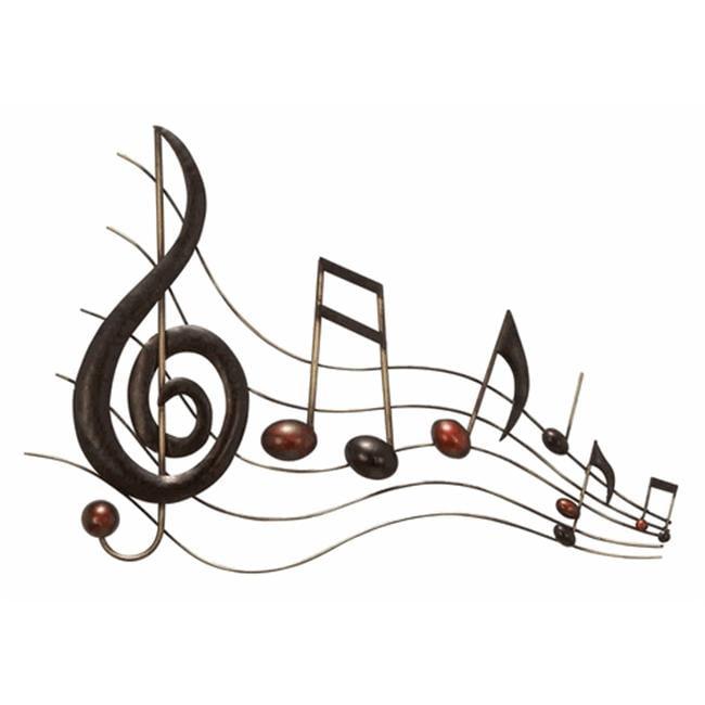 Benzara 64292 26 inch Metal Wall Music Notes