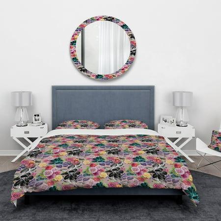 DESIGN ART Designart 'Black Chrysanthemum And Blooming Roses' Floral Bedding Set - Duvet Cover & Shams