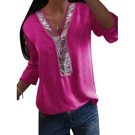 97ab39b34 Sexy Dance - Summer Women Chiffon Loose Tops Long Sleeve Sexy Splice V Neck  T Shirt Casual Blouse Shirt Plus Size S-5XL - Walmart.com