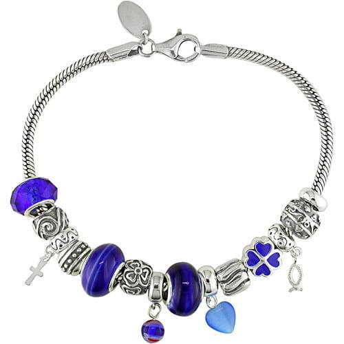 "Venetian Charm Sterling Silver Bracelet, 8-3/4"""