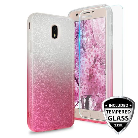 TJS Galaxy J3 2018/J3 V 2018/J3 Orbit/J337/Express Prime 3/J3 Star/J3 Achieve/J3 Prime 2/Amp Prime 3/Sol 3 Two Tone Glitter [Pink] TPU Hybrid Case Cover w/ [Tempered Glass Screen