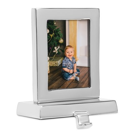 BirdRock Home Photo Frame Stocking Holder - Holiday Greetings Mantle Fireplace Topper - Decorative Christmas Stocking Holder - Stainless Steel Rectangle ()
