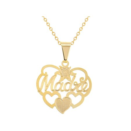 14k Gold Plated Mom Madre Love Heart Family Pendant Necklace 19