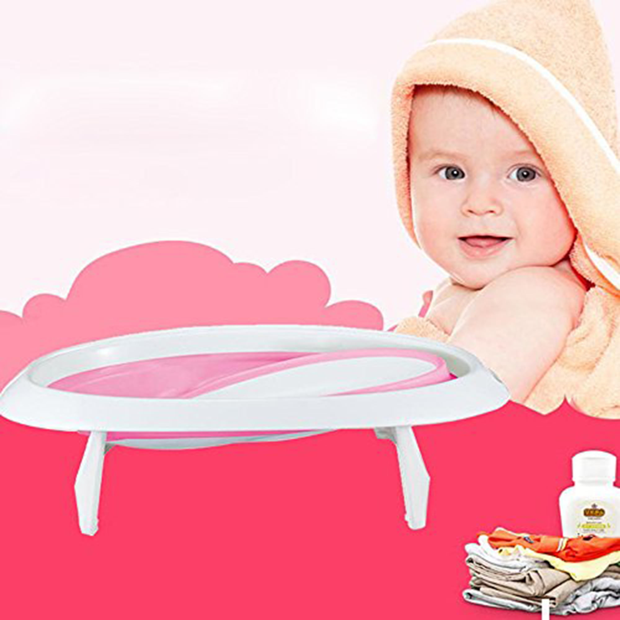 KARMAS PRODUCT Infant EasyStore Comfort Tub Soft Foldable Newborn Bathtub Lovly Pink for Girl by KARMAS PRODUCT