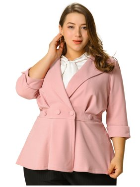Women's Plus Size Ruffle V Neck Business Button Ruched Blazer
