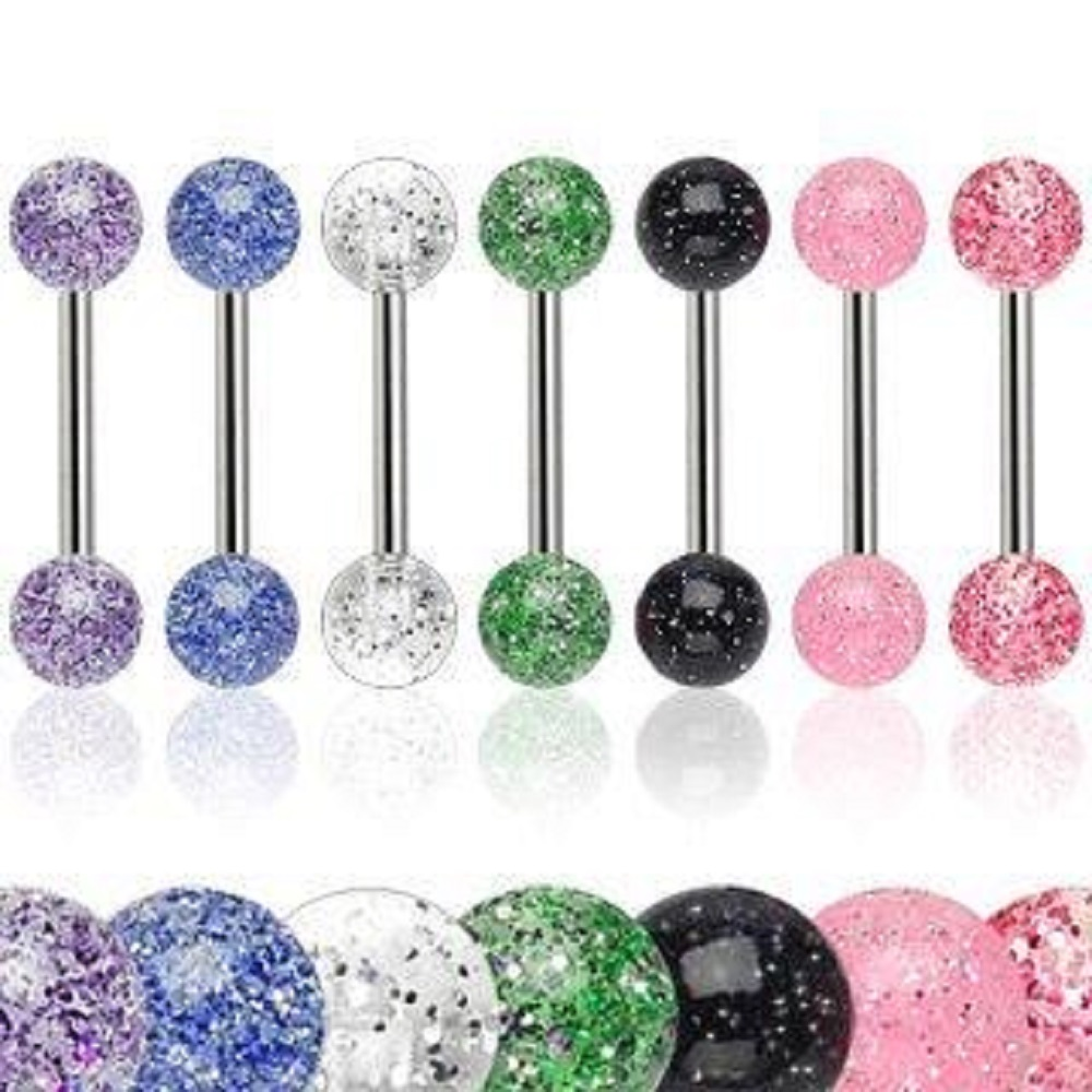 6 Ultra Sparkle Acrylic Tongue Ring 14g - In Assorted Colors
