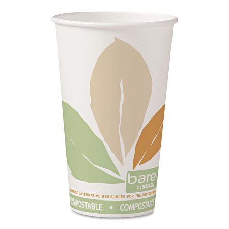 SOLO Cup Company Bare PLA 16 Oz Hot Cups with Leaf Design, 1000 count - Teen Solo Hot