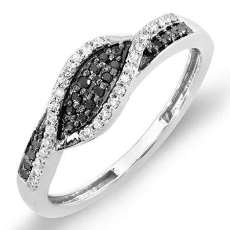 Dazzlingrock Collection 0.25 Carat (ctw) 18K Black & White Diamond Ladies Cocktail Right Hand Ring 1/4 CT, White Gold, Size - 18k Purity Ring