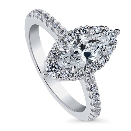 BERRICLE Rhodium Plated Sterling Silver Marquise Cut Cubic Zirconia CZ Halo Promise Engagement Ring 1.44 CTW Size 7 ()