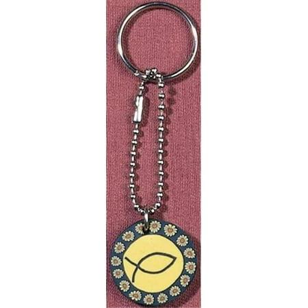 Wwjd Keychain - Key Chain Yellow Fimo Disk Wwjd Ichthus