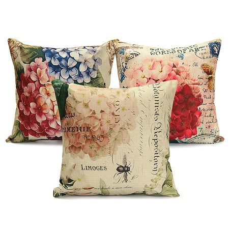 Meigar Vintage Flower/Vase Decorative Throw Pillow Case Cushion Cover Clearance 18''x18'' Square Zipper Waist Pillowcase Pillow Protector Slip Cases Sham for Couch Sofa Home Vintage Throw Pillows
