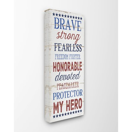 The Stupell Home Decor Brave Strong Fearless Patriotic Stars and Stripes Rustic Wood Look Sign](Patriotic Decor)