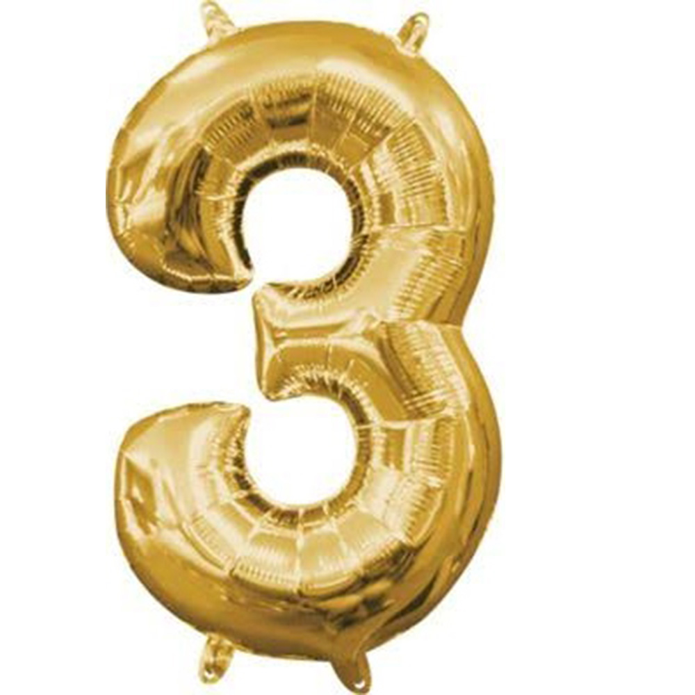 """Mini Shape Air - Filled Gold Number 3 Foil Balloon 16"""""""
